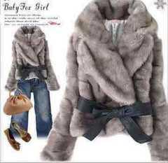 新品★4L★合皮リボン付★暖かいファージャケット★グレー