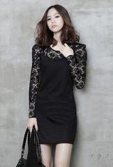 新品【6258】XXL(大きいサイズ)長袖黒花柄レース切替ワンピ