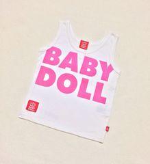 BABY DOLL☆デカロゴ王冠☆胸ボタン☆WHITE☆タンクトップ新品80