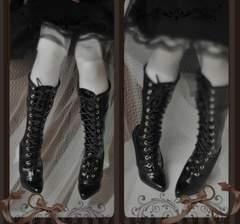 【Silv Shoes】SD16/SD13/SD  ヒール足 ブーツ Enamel Black