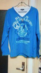 新品:サイズLL:BAD BOY(バッドボ-イ)水色長袖Tシャツ