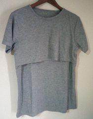 授乳Tシャツ グレー Mサイズ 難有り1スタ