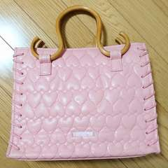 サマンサタバサ ハートキルティングハンドバッグ ベビーピンク