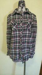 15号 XL 大きいサイズ 長袖シャツ グレー×黒×ピンク チェック