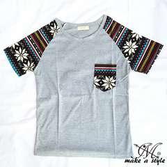 幾何学 エスニック ラグラン Tシャツ TEE 半袖 グレー 50M