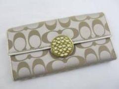 E10503■正規本物コーチ■シグネチャー3つ折財布■美品