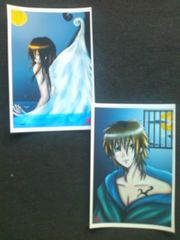 ●自作ポストカード/水と月/少年/2枚