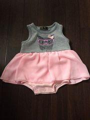 新生児〜ベビかわいいスカート付きノースリロンパ70ワンピ美品