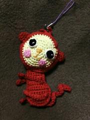 手編みのあみぐるみ、さるストラップ