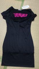 新品M 黒×胸元ピンクレース  半袖チュニック ワンピ