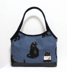 ◆猫の日常【ブルーグレー】黒猫×黒合皮◆�Awayマチありグラニートート