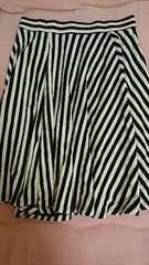 即決☆Sサイズ黒&白のストライプ膝丈スカート