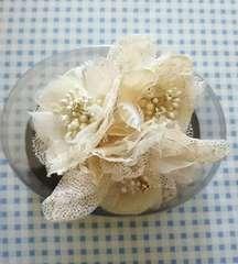 美品◆anyFAM購入◆パール&ストーンコサージュ*ベージュ