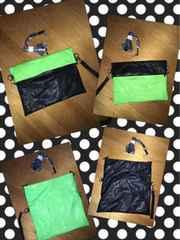 【one way】3way蛍光緑×黒バイカラークラッチショルダーバッグ