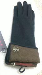 新品CLATHAS クレイサス アンゴラ 手袋 黒×ダークブラウン ステッチ カメリア