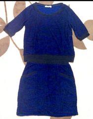 OZOC◎七分袖 スカートセットアップ◎ブルー