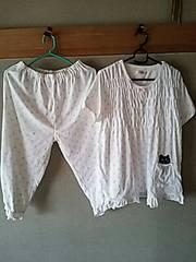 新品 パジャマ ルームウェア 猫 水玉 夏用 L ホワイト キャット