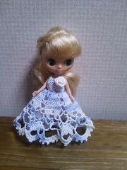 プチブライスof水色×白のレース編みドレス