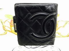 シャネルカンボンライン二つ折財布ブラックレザーココマーク