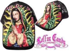 G005)LA発ラインストーン聖母マリア様キャップ黒MARIAメキシカンチカーノローライダー帽子E