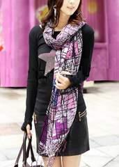冬装 紫系 ポリエステル.ロングストール スカーフ マフラー