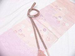夏用 はんなり薄ピンク 正絹 帯締め・帯揚げ 新品
