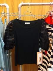 新品◆bonica dot. ボーダーオーガンジースリーブ 定価¥9030