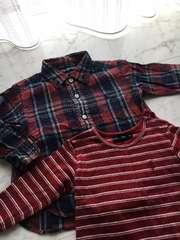 ラルフローレン2点セットチェック長袖ボーダーTシャツサイズ80