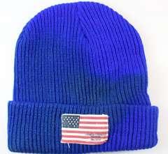 アメリカ国旗 ロゴいり ニット帽子 サイズフリー ブルー