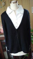 新品タグ付きシャツ重ね風ニットセーター3L