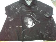アンリニュー黒ニットセーター白顔影絵風ポンチョ型ショート衿M