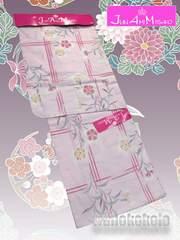 【和の志】ブランド浴衣◇JAM◇薄ピンク系・格子に撫子◇47