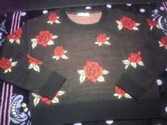 中古[ローズ柄ニットM]セーター/薔薇バラ/ガーリーゴスロリパンクロック系にも