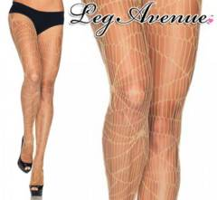 a30)LegAvenue蜘蛛の巣ネットストッキングベージュタイツパンク魔女コスプレ衣装