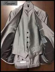 新品☆ 6.3万 ティノラス 光沢 シルバーG ウイングベスト仕様 3ピーススーツ Sサイズ