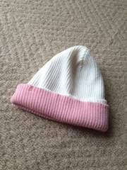未使用☆リバーシブルニット帽☆ピンクとホワイト☆
