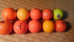ゴルフ ロストボール オレンジ7個 黄色3個
