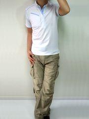 レイヤードデザインポロシャツLホワイト白新品※2点送料無料