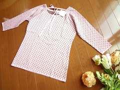 新品innocentピンク茶ドット柄リボン七分袖ニットLL XL