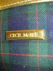 CECIL McBEE セシルマクビー ギンガムチェック ポーチ バッグ 鞄 緑 ゴールド チェーン