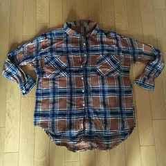 ブラウン×ネイビーフラネルチェックシャツonesize