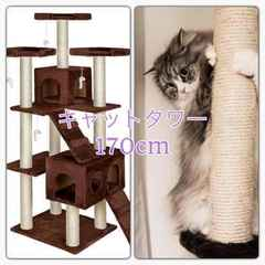 キャットタワー 170cm 猫タワー ワイド据え置き型 ブラウン