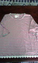ピンク×グレー ボーダーカットソー6L
