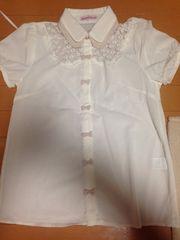 美品☆白×ピンク☆シワのつきにくい半袖シャツ☆ブラウス