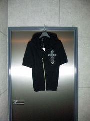 トルネードマートクロス×ラインストーン半袖パーカー〓黒/M