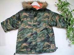 迷彩柄撥水中綿ダウンジャケット新品95ファーフード袖口リブ2重