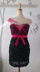F ミニドレス Jewels ピンク,ブラック リボン ローズ 新品J16430