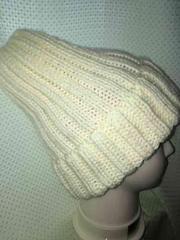 ニット帽子 手編み オフホワイト