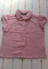 美品♪シンプル赤ストライプ半袖シャツ♪100�p