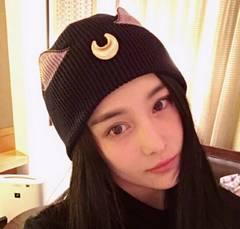 注目☆ニット帽秋冬人気★月柄帽子★可愛い猫耳帽子★黒